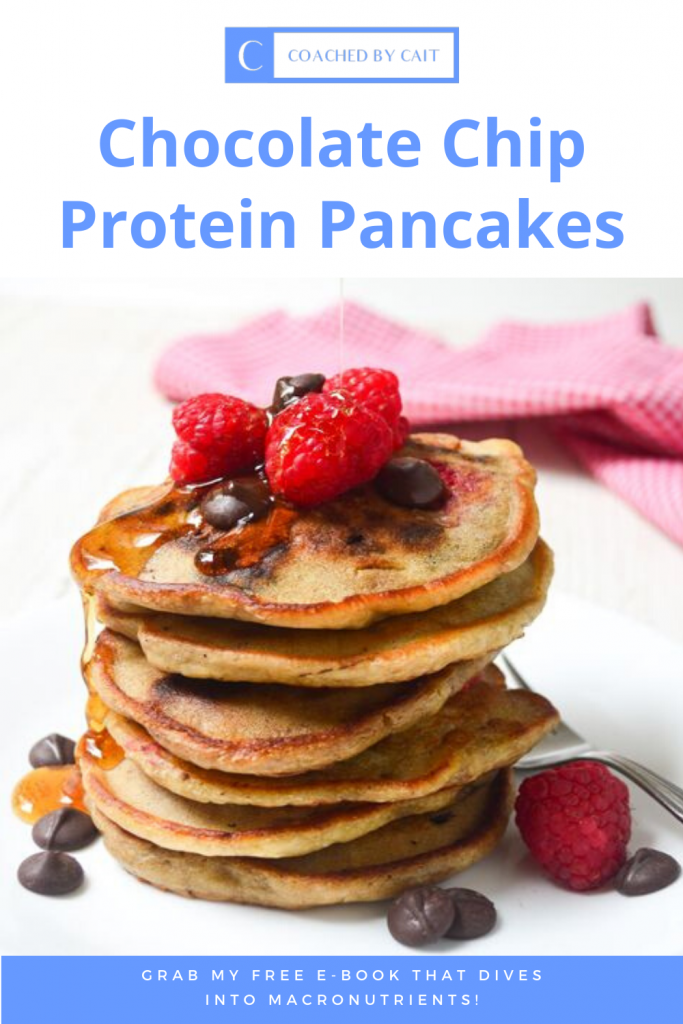 Do you prefer sweet or savory breakfasts?! Here is my 3 ingredient chocolate chip protein pancake recipe! Also don't forget to grab my FREE E-BOOK that DIVES INTO MACRONUTRIENTS!